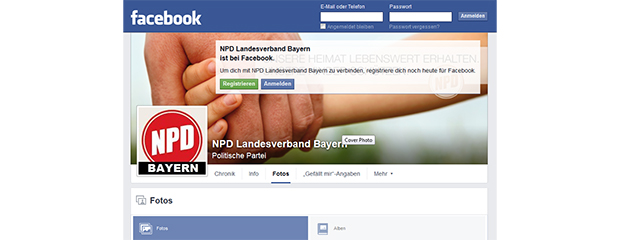 Screenshot des Facebook-Headers der NPD Bayern